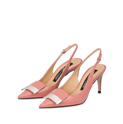 Slingpumps in rosafarbenem Lackleder