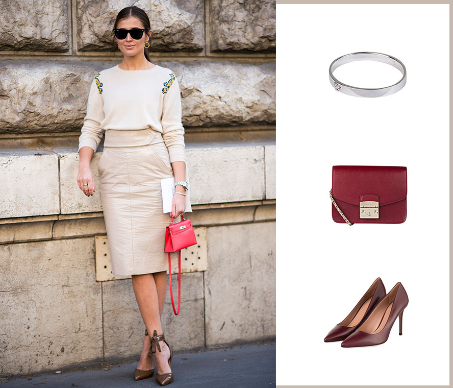Business Cocktail-Kleid mit Accessoires